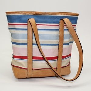 Coach Striped Canvas & Leather Tote